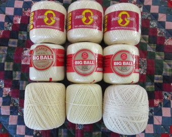 Cream and ECRU Crochet Thread Mercerized Cotton 9 Skeins LOTS of Thread Sizes 30 and 10 South Maid 3 Cord Crochet