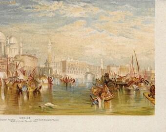 Vintage Unused United Kingdom Post Card of Painting Venice
