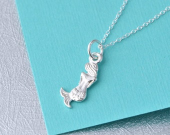 Mermaid Necklace, Silver Mermaid Charm Necklace, Sterling Silver Mermaid, Mermaid Jewelry, Gift For Her, Gift For Her