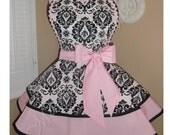 Sweet Pink Retro Apron Featuring Damask Print Heart Shaped Bib...Ready To Ship