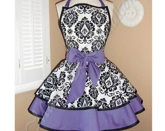 Damask Print Accented with Purple Womans Retro Apron With Tiered Skirt And Bib