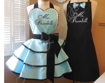 Mr. and Mrs. Custom Bridal Aprons In Robin's Egg Blue...Perfect Bridal Shower Gift