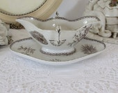 Antique French stunning sauce, gravy boat, dish serving.  Very old transfer wear with delicate peacock design