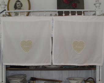 Vintage French pair of cafe curtains.  'Bonheur'.  Cottage chic