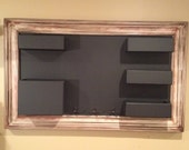 Framed Chalkboard Mail Organizer with Red