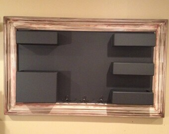 Framed Chalkboard Mail Organizer Shabby with Red