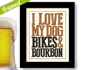 Dog Lover Framed Art Bicycle Art Bourbon Gift Cycling Art Motorcycle Rider Dog Breeds Craft Beer Sign for Bar Bicyclist Whiskey Drinker