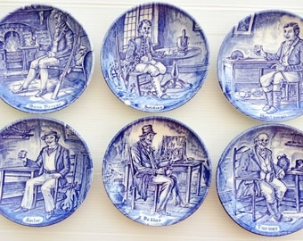 Complete vintage set of six Enoch Wedgwood Tunstall coasters featuring old British countryside trades
