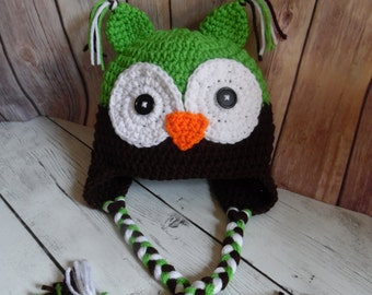 Owl Hat, Baby Boy Owl Hat, Crochet Owl Hat, Handmade Crochet Owl hat, Made to Order