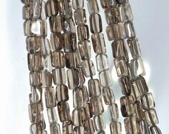 6x4-8x5mm Smoky Quartz Gemstone Rectangle Tube Loose Beads 14 inch Full Strand (90184874-894)