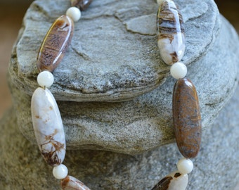Brown Jasper & Mother of Pearl Necklace