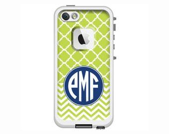 Monogrammed LifeProof Fre or Nuud iPhone 6 Plus, iPhone 6, iPhone 5/5s, iPhone 5c Phone Case - Clover/Chevron Pattern Custom Printed Case
