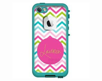 Sassy Chevron Monogrammed LifeProof Fre or Nuud iPhone 6 Plus, iPhone 6, iPhone 5/5s, iPhone 5c Personalized Phone Case