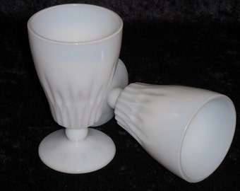 Hazel Atlas Starlite Milk Glass Ice Tea Goblets