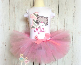 Kitten birthday outfit - cat birthday outfit - 1st birthday outfit - pink and gray tutu outfit - kitten tutu set - personalized outfit
