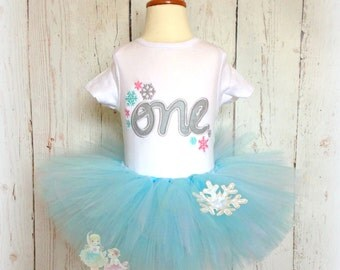 "Birthday Snowflake ""ONE"" Tutu Outfit- Winter ONEderland- Custom Embroidery- 1st Birthday Outfit- Silver, Pink, and Blue"