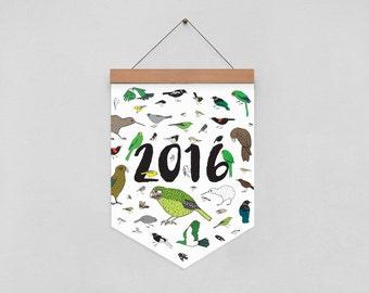 New Zealand Birds Eco-friendly 2016 Calendar on Wooden Hanger