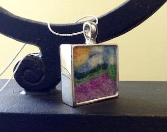 necklace - needle felt - needle felted necklace - wool felted - fiber arts - fiber art - felted jewelry - Provence - Tuscany - lavender