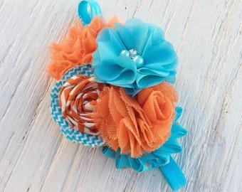 Girl headbands turquoise blue orange baby girls headband ruffle elastic rolled rosette whimsical flower infant newborn women