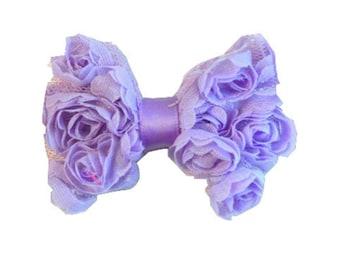 "Lavender Mini Chiffon Bows. 2.5"".  Set of 3. 1-MCB-005."