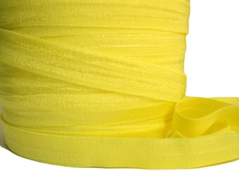 "Daffodil Yellow Fold Over Elastic, 5/8"". Yellow FOE. 5 Yards."