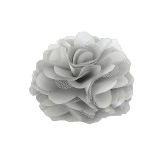Silver Gray Satin and Tulle Flower -- 1 pc. GISELLE Collection.