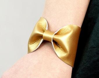 Gold Bow Bracelet Bow Cuff Metallic Bracelet Vegan Leather Gold Jewelry St Patricks Day Wrist Cuff Bracelet Gold Bracelet Wrist Tattoo Cover
