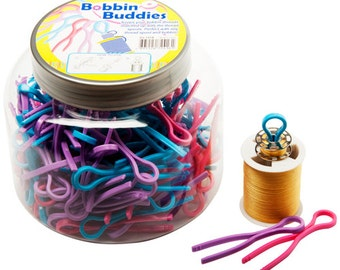 Bobbin Buddies, Bobbin Clips, Bobbin and Thread Matches, Sewing Notions, Pink, Blue and Purple, set of 2