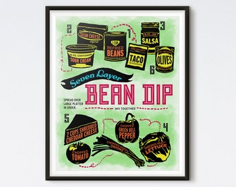 Illustrated Recipe - Seven Layer Bean Dip - Digital Print - Kitchen Print - Recipe Print - Kitchen Art - Recipe Art - Art Prints - Retro Art