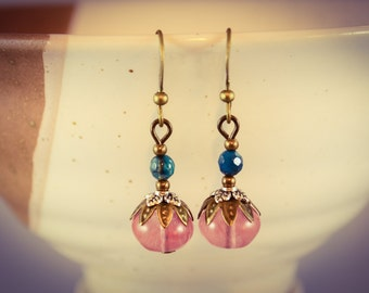 Cherry Quartz and Teal Apatite Bronze Gemstone Earrings [E1]