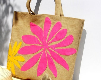 Large jute tote bag appliqued with bold  fushia and yellow flowers ,handmade bags, Haitian summer, tropical prints, summer tote, beach bag