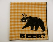Hankie- DEER+BEAR=BEER shown on super soft butterscotch plaid cotton Hanky-or choose from white or any solid colors or plaids shown in pics