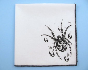 HANKIE- SPIDER shown on super soft white cotton hanky-or choose from any solid color or plaids shown in pics