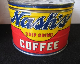 Vintage 1 LB Nash's Coffee Tin, Coffee can, Key wind ,original lid
