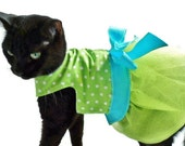 Cat Dress Cat Clothes Easter Lime Green and Turquoise Polka Dot Tutu Cat Dress pet clothing cat clothing pet clothes cat clothes