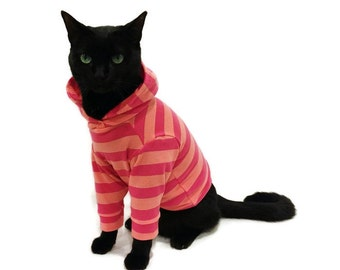 Striped Cat Hoodie-Cat Hoodies-Cat Clothes-Cat Clothing-Cat Sweater-Clothes for Cats-Hoodies for Cats-Sphynx Clothes-Shirts for Sphynx