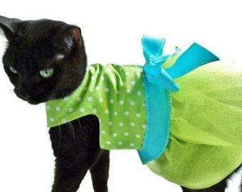 Cat Dress - Cat Clothes - Lime Green Polka Dot Cat Tutu Dress - Easter Dress - Cat Clothing - Cat Birthday Dress