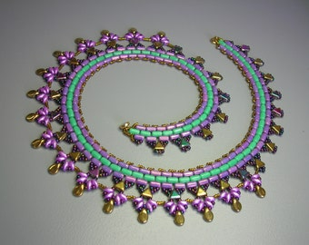 Tutorial - Peacock - Kheops, Rulla, Superduo, Pips beads - beading tutorial Necklace