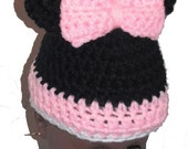 "18"" Doll Clothes Crocheted Minnie Mouse Hat in pink"