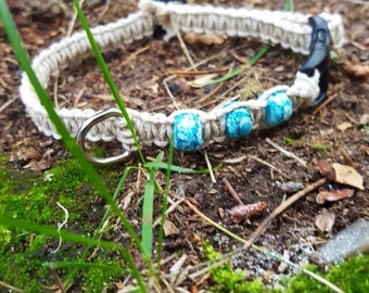 Glow in the Dark Hemp Cat Collar Adjustable Blue Beads