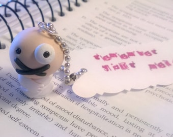 Don't Forget to Take Your Meds Mental Patient Keychain Charm Polymer Clay Psychology Medication Gift Ooak