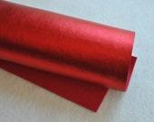 """8.5"""" x 11.5"""" Metallic Wool Blend Felt Sheet, Red"""