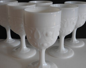 White Milk Glass Strawberry Patterned Wine or Water Goblets