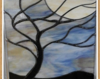 Tree and Moon stained glass panel