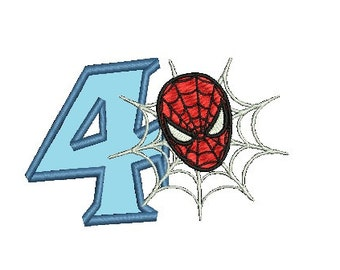 Spiderman Birthday Applique Embroidery Design (243) Instant Download