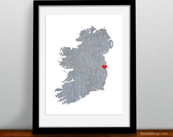 Ireland Map - Custom Personalized Heart Print - I Love Dublin - Hometown Wall Art Gift Souvenir - Destination Wedding