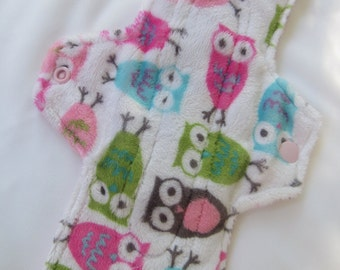 Candy Mint Owls Minky Extra Coverage Mama Cloth (Reusable Cloth Menstrual Pad)