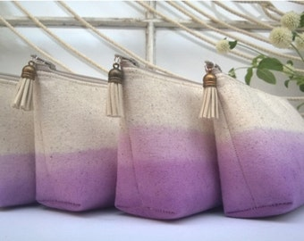 Set of 4 - Ombre Clutch Purses, Purple Bridesmaid Gifts, Wedding Clutches, Bohemian, Make Up Bag
