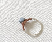 NEW Feldspar Ring : Copper Wired Feldspar on Hammered Silvertone Brass Ring, Stack Rings, Stackable Rings, Gifts for her