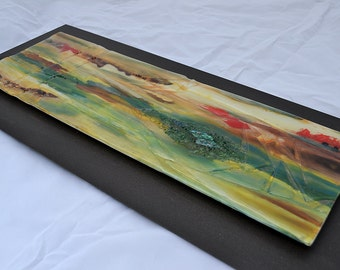 """Fused Glass Wall Panel mounted on Steel - Painting on Glass with Relief 25""""x11"""""""